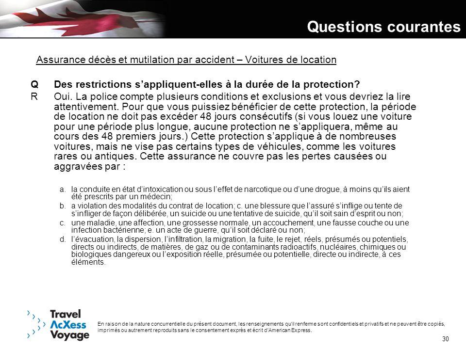Questions courantes Assurance décès et mutilation par accident – Voitures de location.