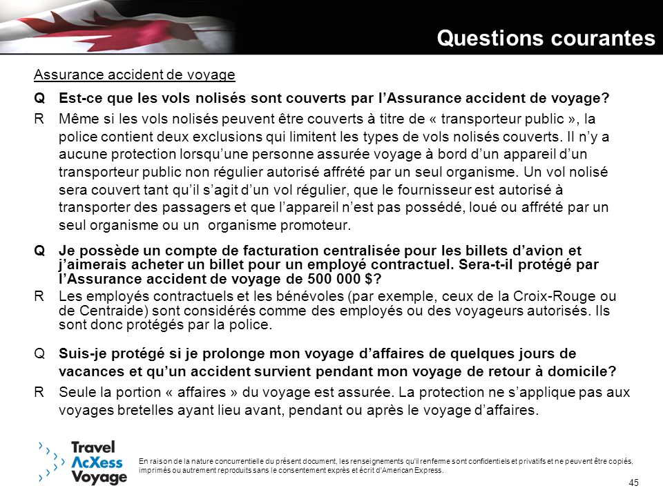 Questions courantes Assurance accident de voyage