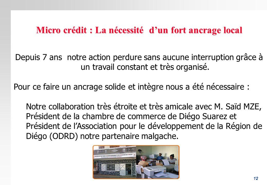 Micro crédit : La nécessité d'un fort ancrage local