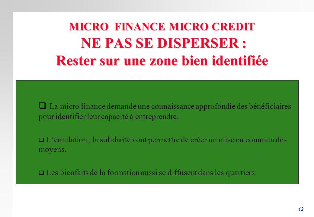 MICRO FINANCE MICRO CREDIT NE PAS SE DISPERSER : Rester sur une zone bien identifiée