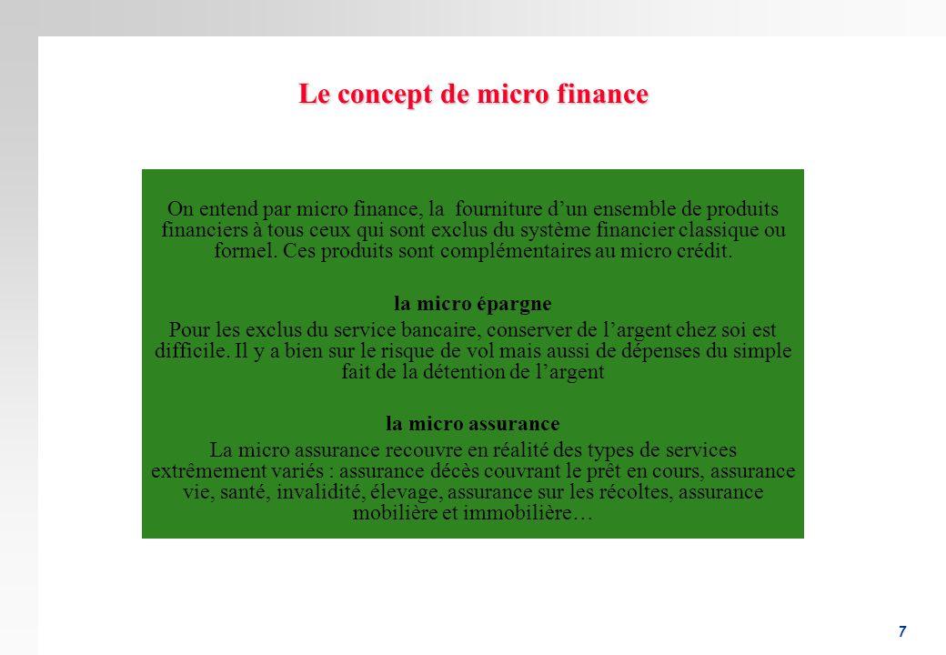 Le concept de micro finance
