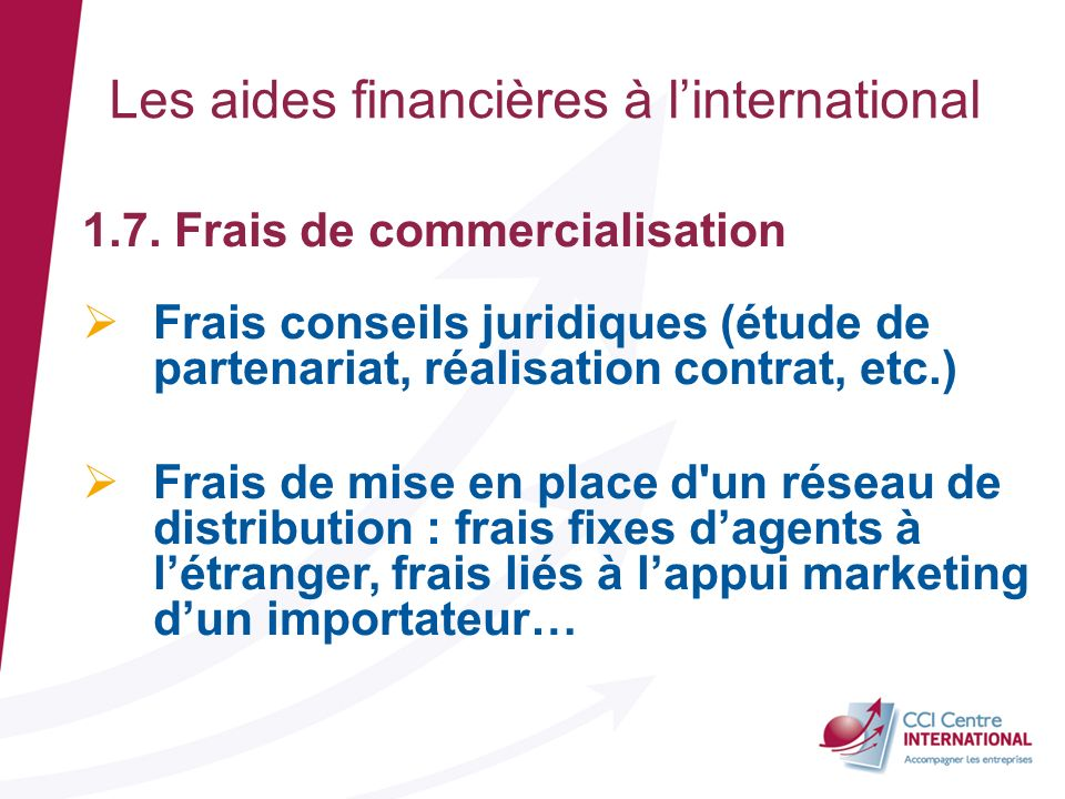 Les aides financières à l'international