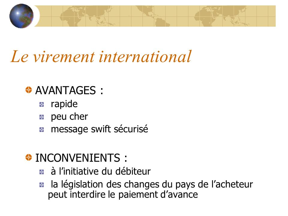 Le virement international