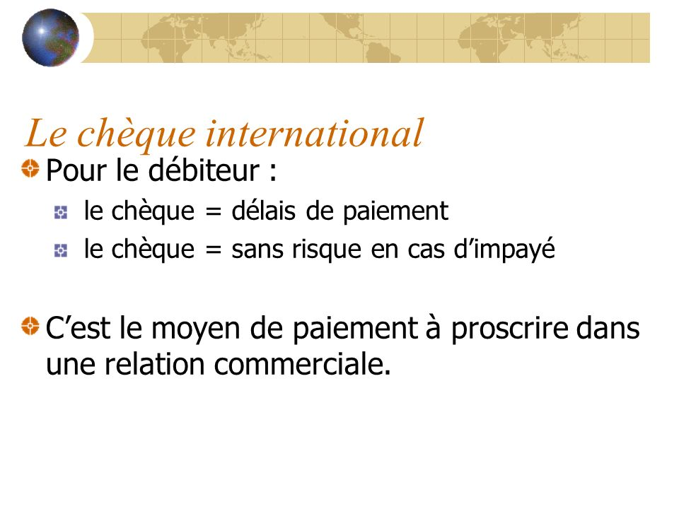 Le chèque international