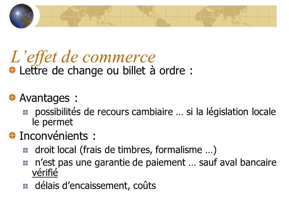 L'effet de commerce Lettre de change ou billet à ordre : Avantages :