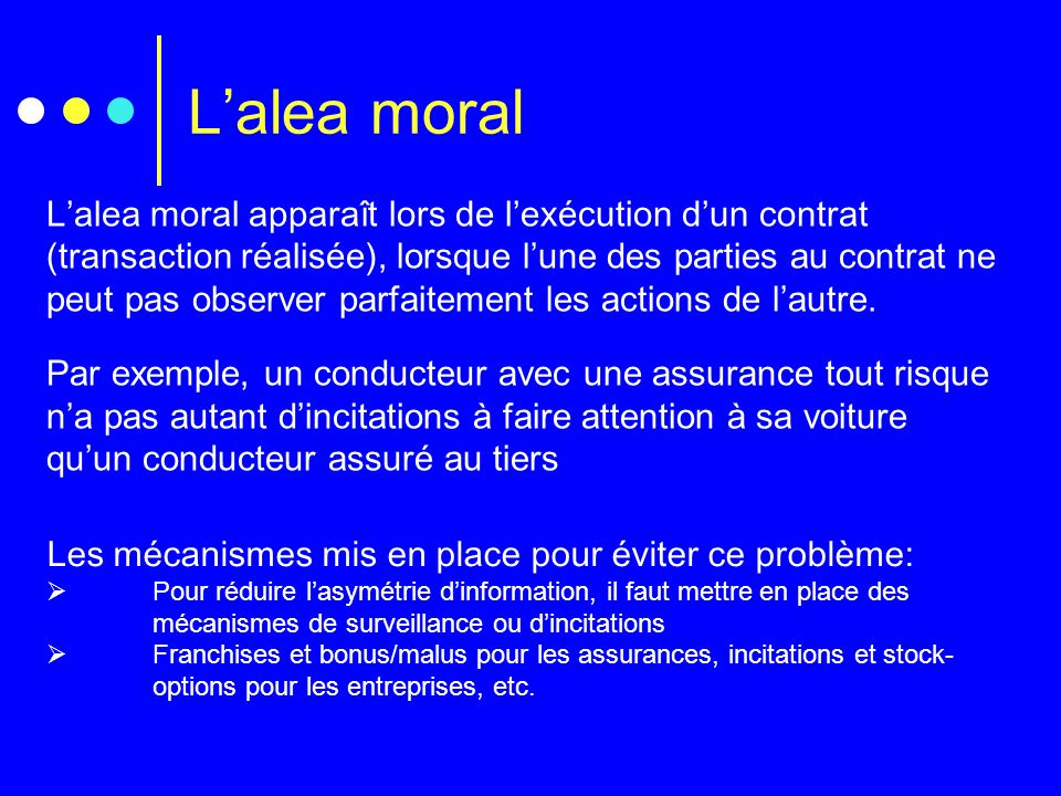L'alea moral