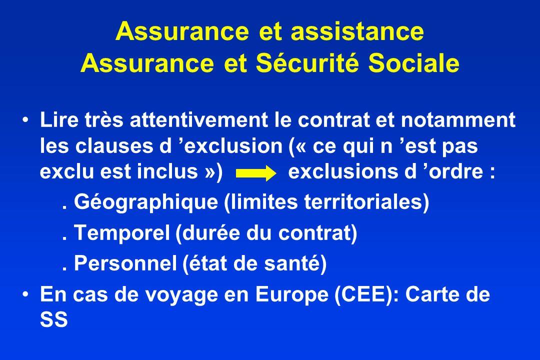 Assurance et assistance Assurance et Sécurité Sociale