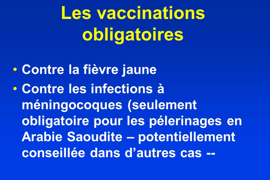 Les vaccinations obligatoires