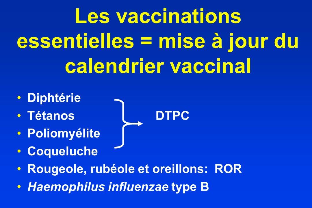Les vaccinations essentielles = mise à jour du calendrier vaccinal