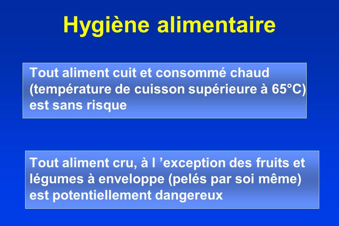 Hygiène alimentaire Tout aliment cuit et consommé chaud (température de cuisson supérieure à 65°C) est sans risque.