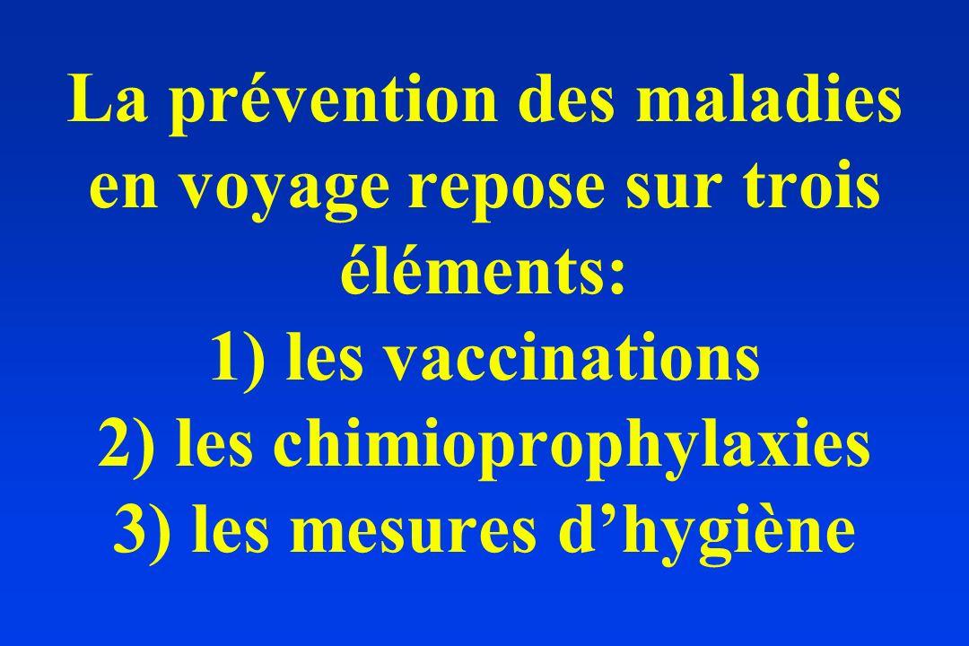 La prévention des maladies en voyage repose sur trois éléments: 1) les vaccinations 2) les chimioprophylaxies 3) les mesures d'hygiène