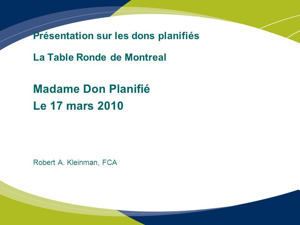 Présentation sur les dons planifiés La Table Ronde de Montreal