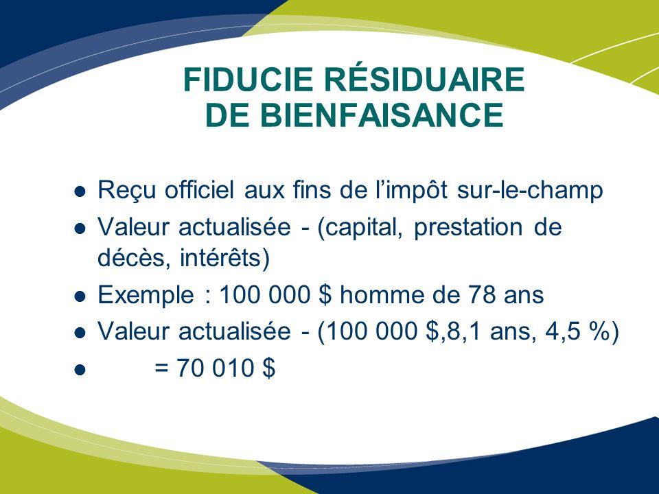 FIDUCIE RÉSIDUAIRE DE BIENFAISANCE