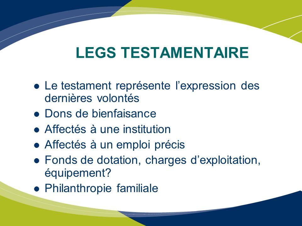 LEGS TESTAMENTAIRE Le testament représente l'expression des dernières volontés. Dons de bienfaisance.