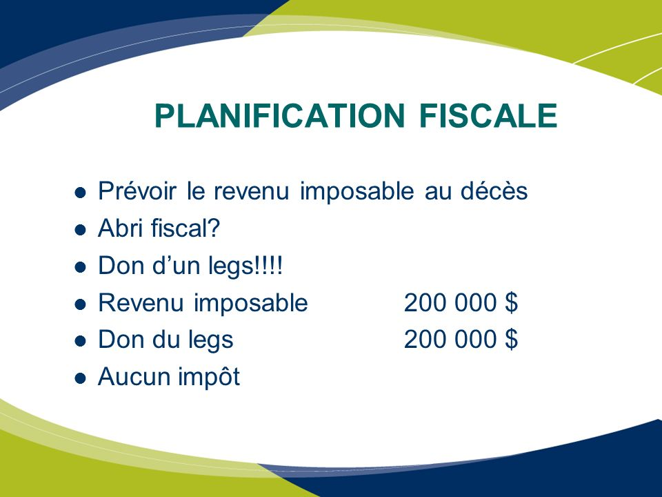 PLANIFICATION FISCALE