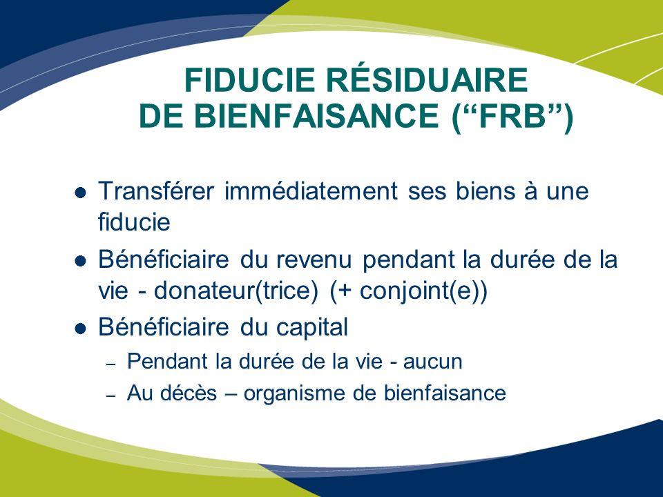 FIDUCIE RÉSIDUAIRE DE BIENFAISANCE ( FRB )
