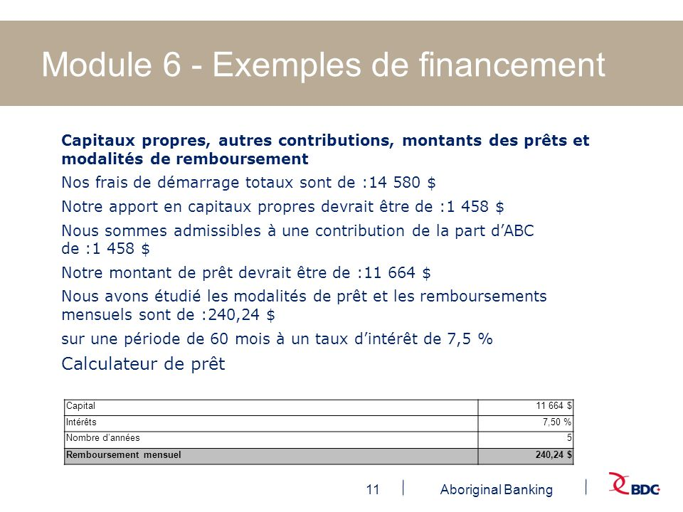 Module 6 - Exemples de financement