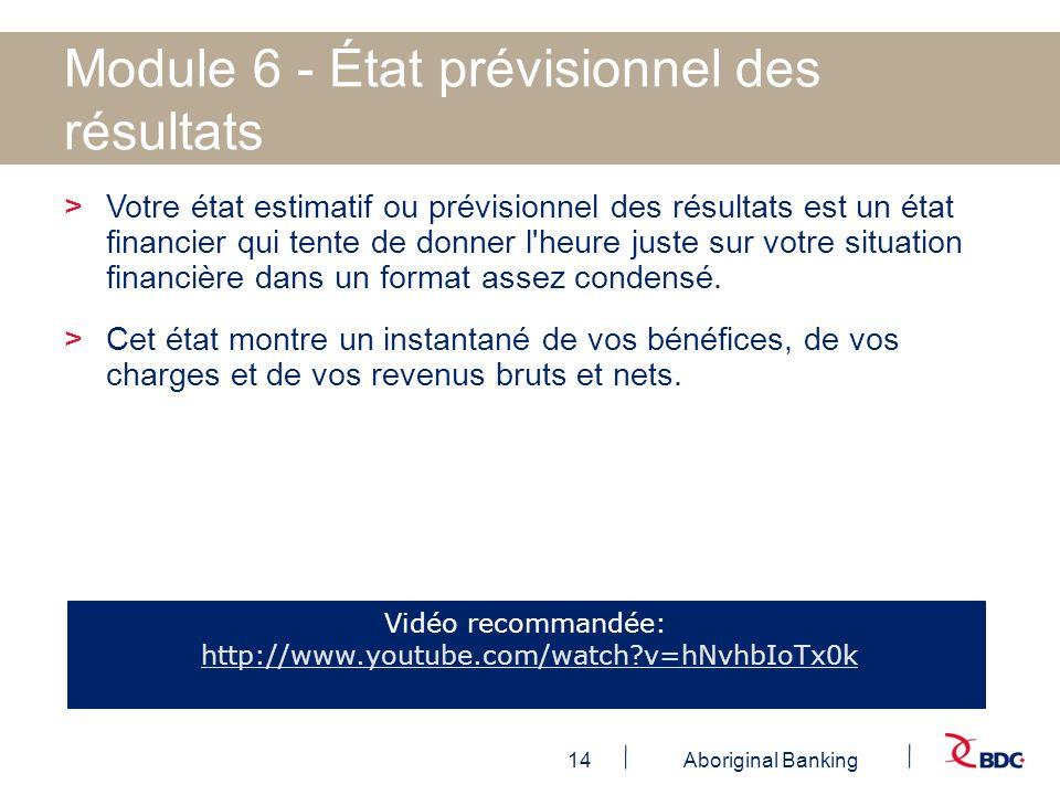 Module 6 - État prévisionnel des résultats