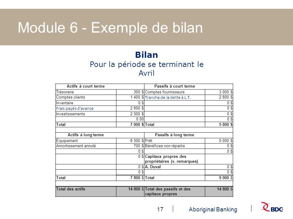 Module 6 - Exemple de bilan