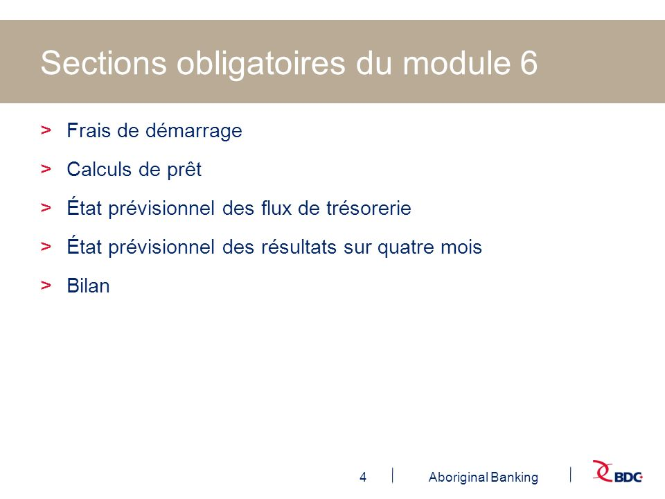 Sections obligatoires du module 6