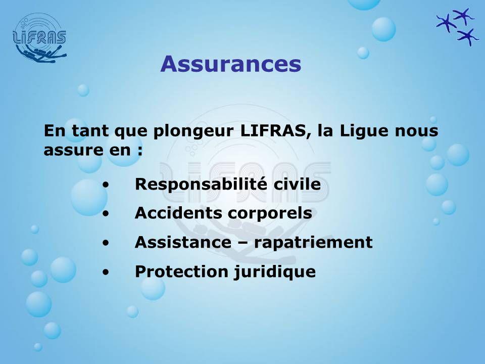 Assurances En tant que plongeur LIFRAS, la Ligue nous assure en :