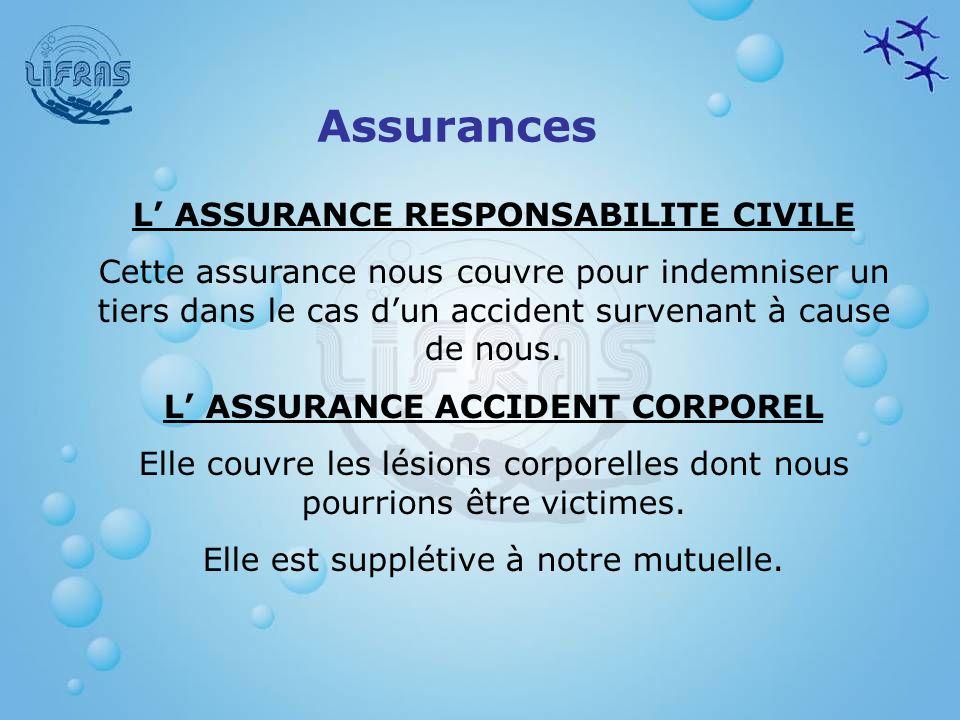 L' ASSURANCE RESPONSABILITE CIVILE L' ASSURANCE ACCIDENT CORPOREL