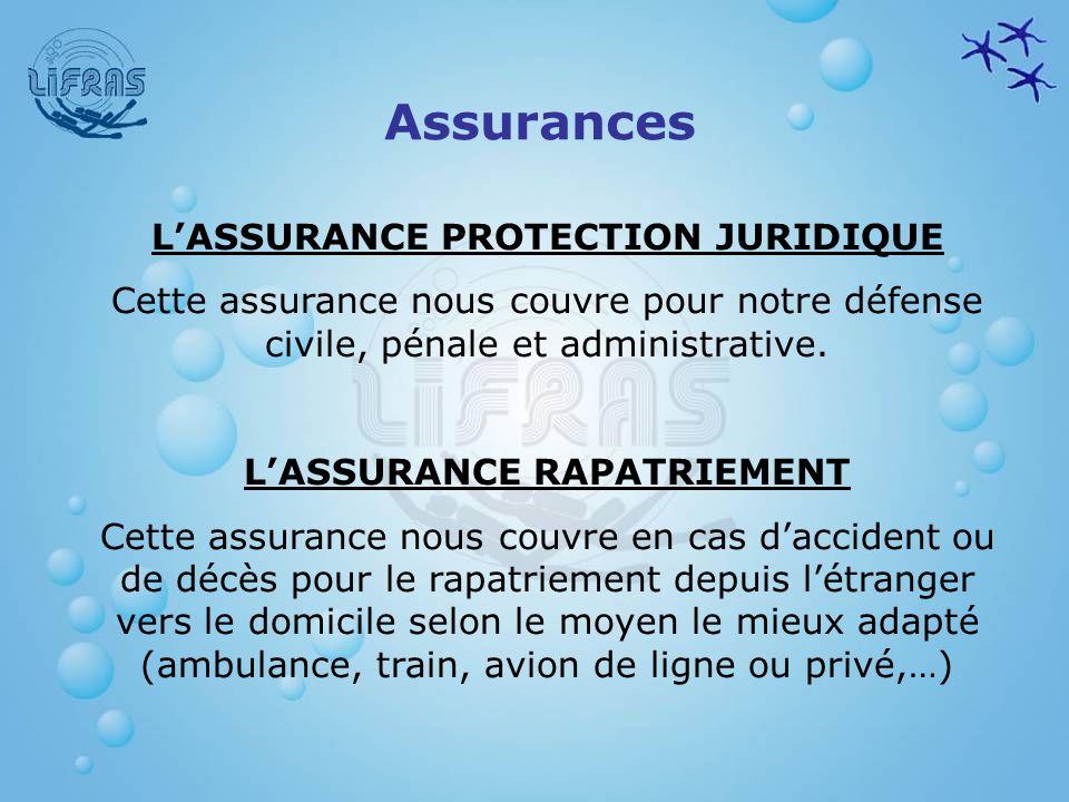 L'ASSURANCE PROTECTION JURIDIQUE L'ASSURANCE RAPATRIEMENT