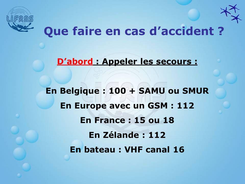 D'abord : Appeler les secours : En Belgique : 100 + SAMU ou SMUR