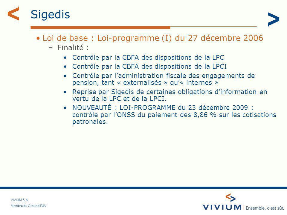 Sigedis Loi de base : Loi-programme (I) du 27 décembre 2006 Finalité :
