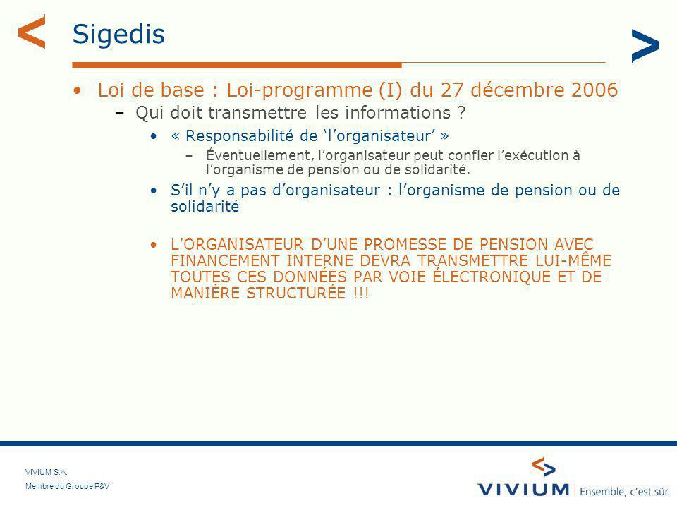 Sigedis Loi de base : Loi-programme (I) du 27 décembre 2006