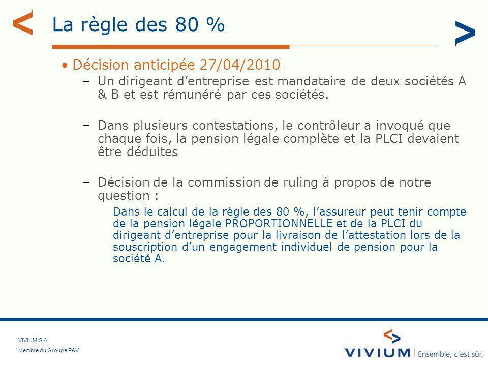 La règle des 80 % Décision anticipée 27/04/2010