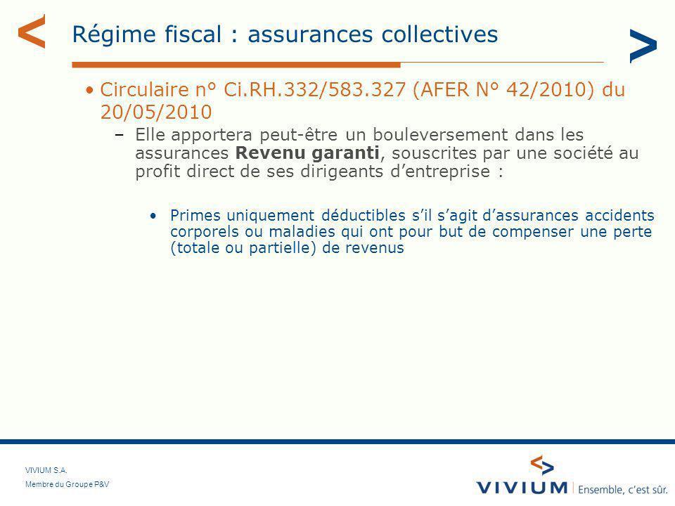 Régime fiscal : assurances collectives