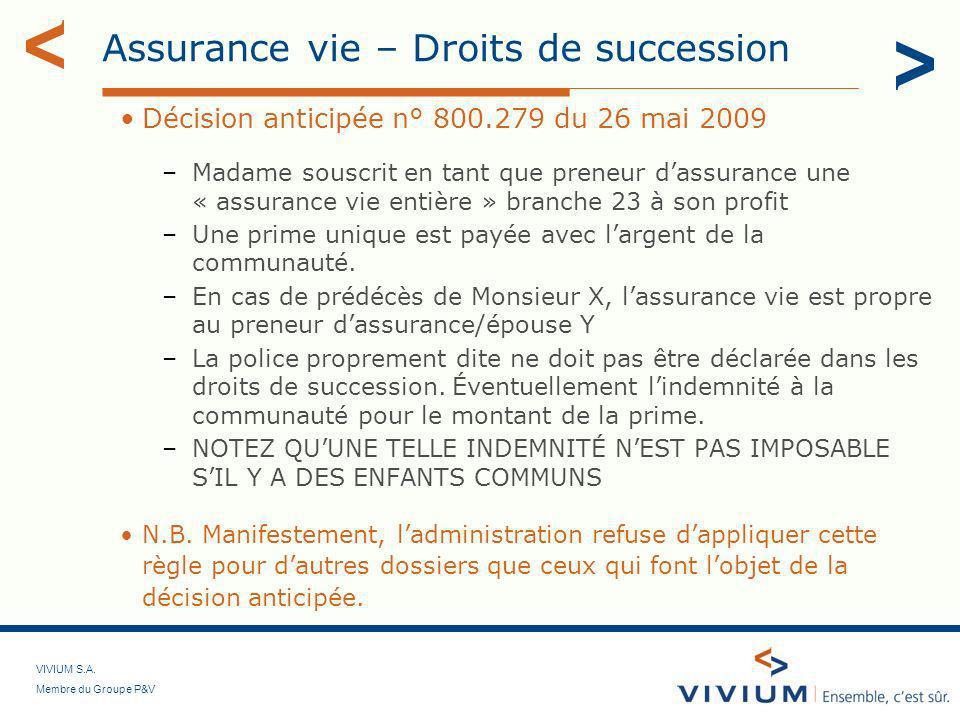 Assurance vie – Droits de succession
