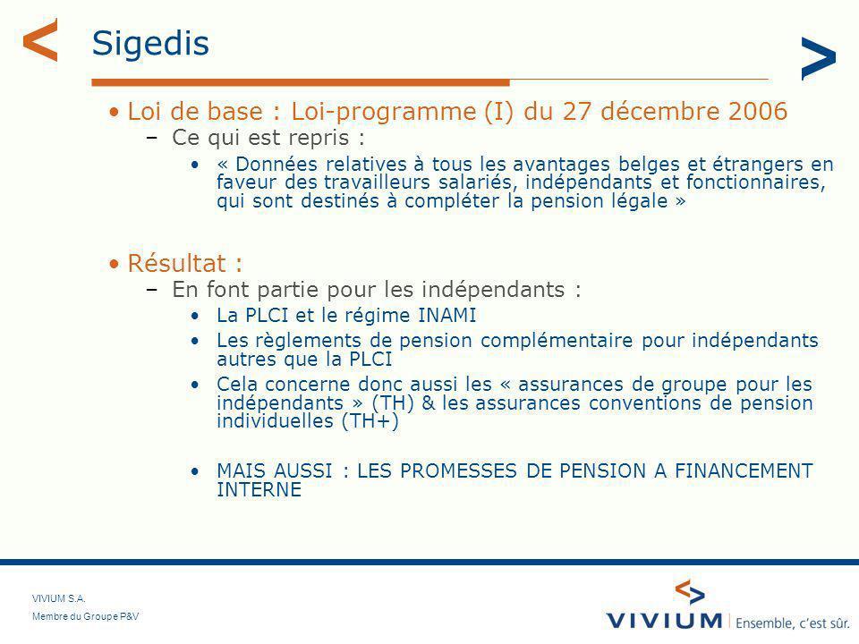 Sigedis Loi de base : Loi-programme (I) du 27 décembre 2006 Résultat :