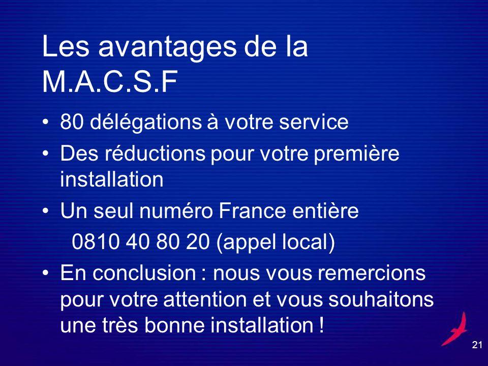 Les avantages de la M.A.C.S.F