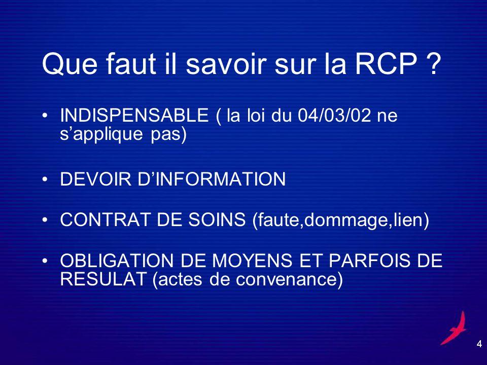 Que faut il savoir sur la RCP