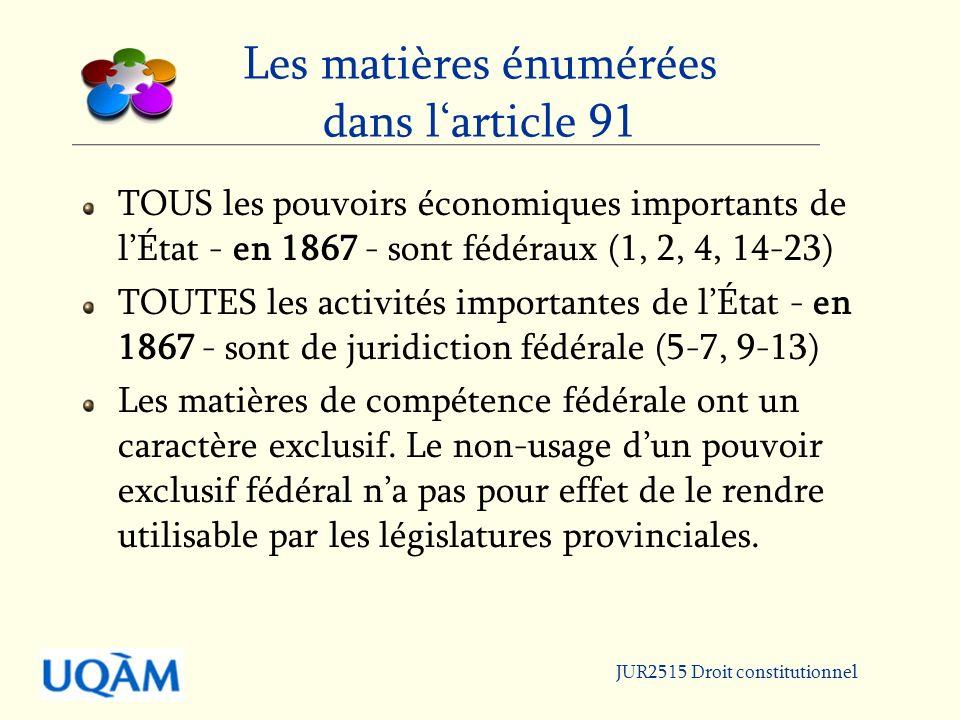Les matières énumérées dans l'article 91