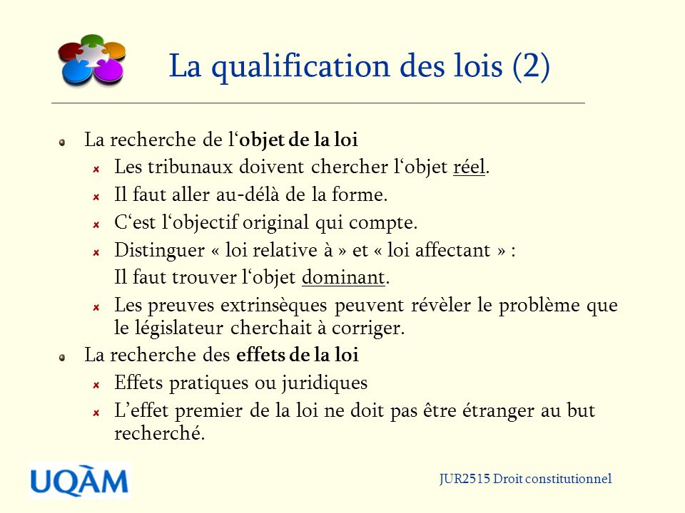 La qualification des lois (2)