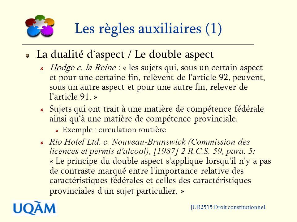 Les règles auxiliaires (1)