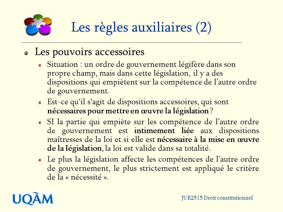 Les règles auxiliaires (2)