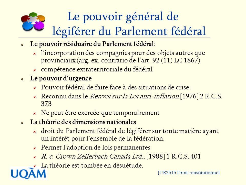 Le pouvoir général de légiférer du Parlement fédéral
