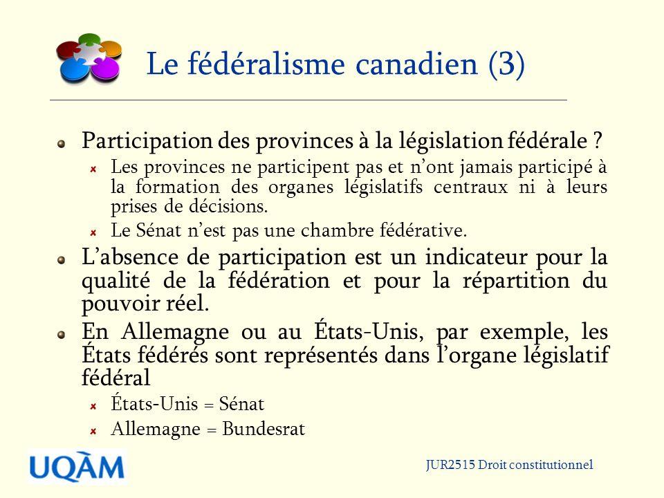 Le fédéralisme canadien (3)