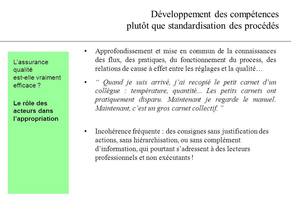 Développement des compétences plutôt que standardisation des procédés