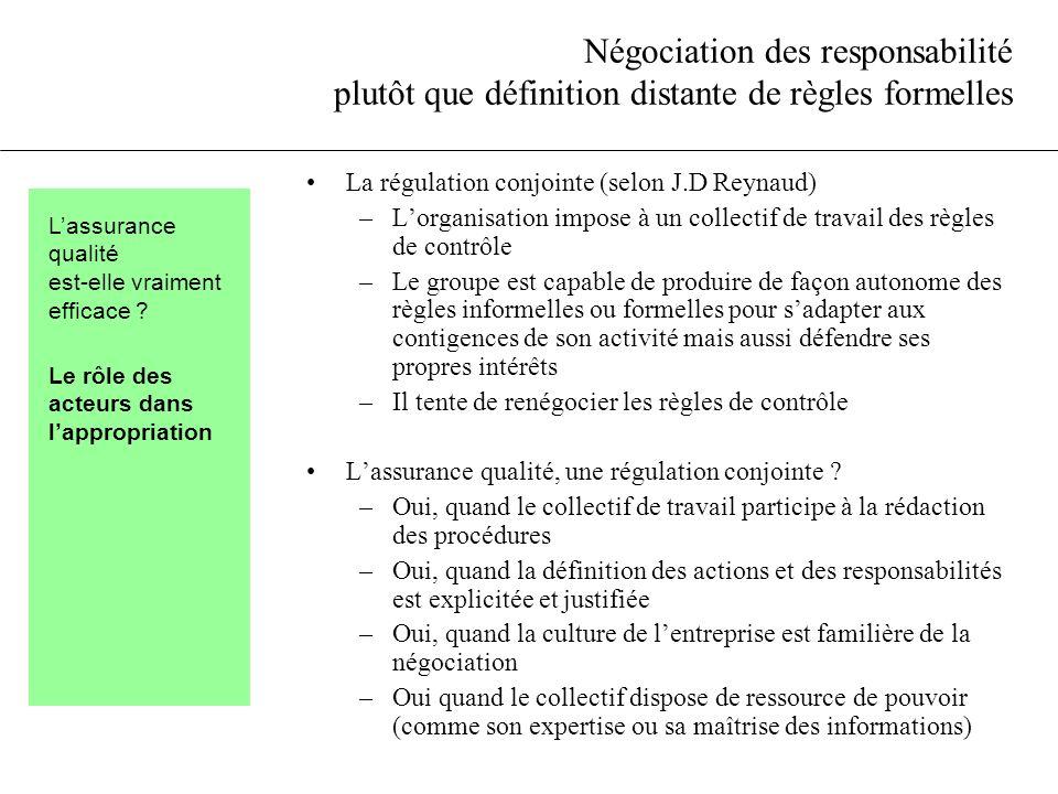 Négociation des responsabilité plutôt que définition distante de règles formelles