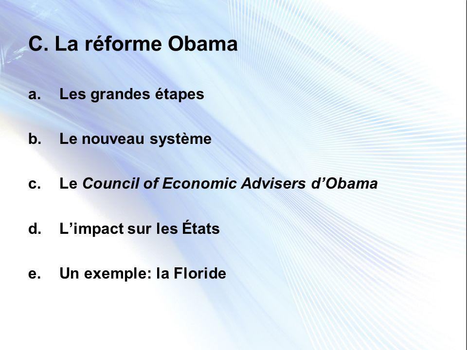 C. La réforme Obama Les grandes étapes Le nouveau système
