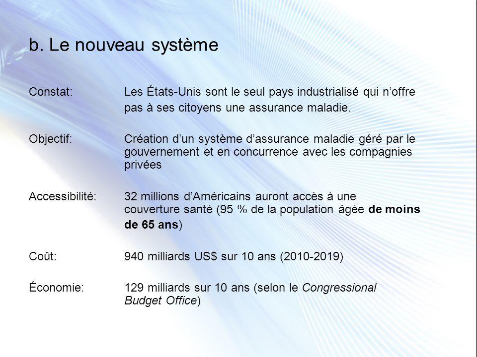 b. Le nouveau système Constat: Les États-Unis sont le seul pays industrialisé qui n'offre. pas à ses citoyens une assurance maladie.