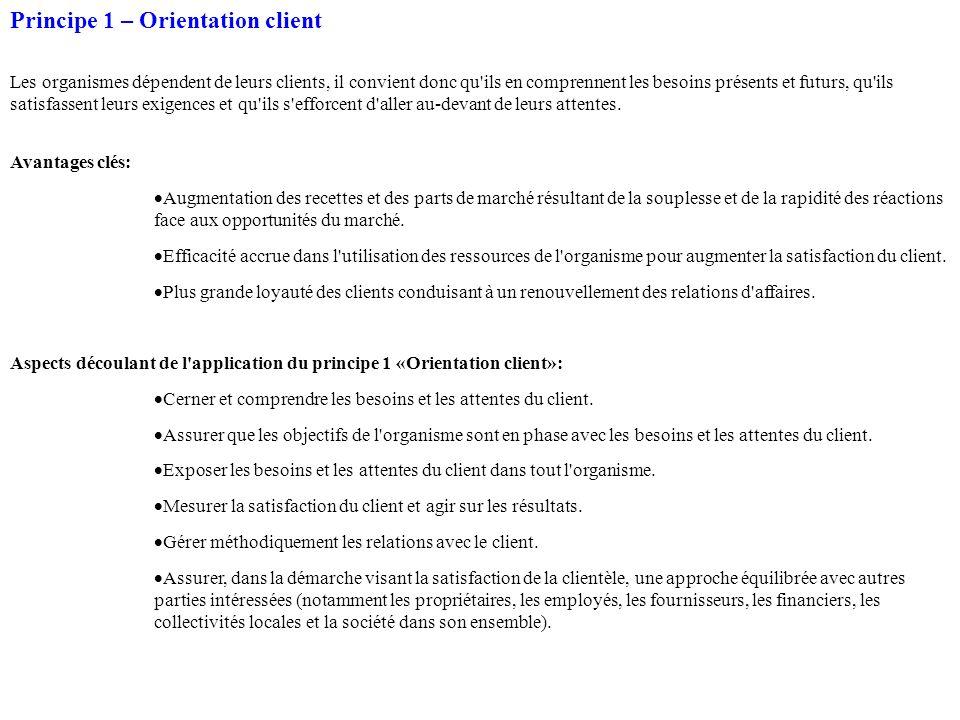 Principe 1 – Orientation client