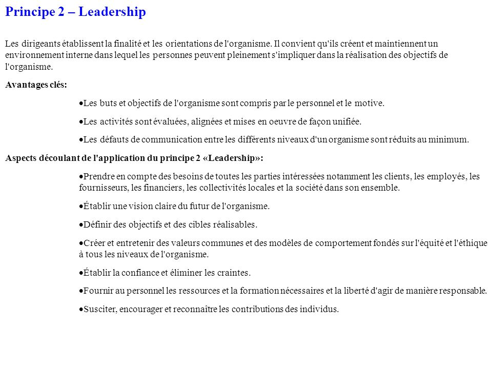 Principe 2 – Leadership
