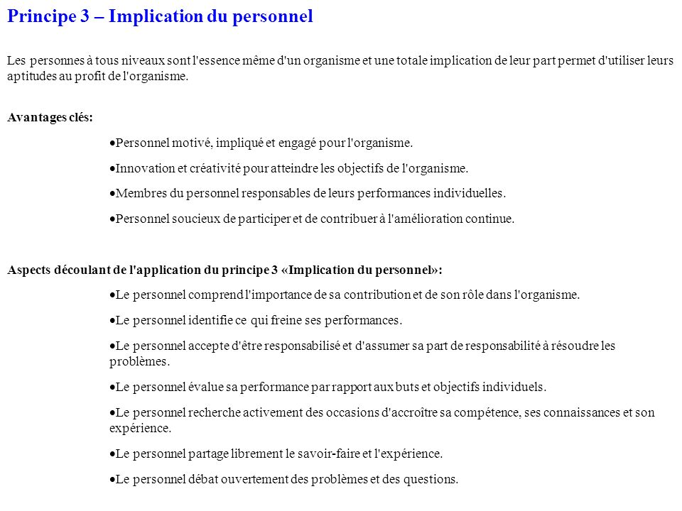 Principe 3 – Implication du personnel
