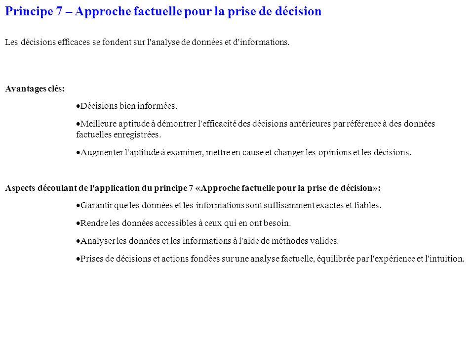 Principe 7 – Approche factuelle pour la prise de décision